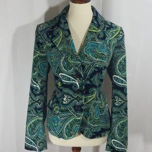 Talbots blue paisley stretch velvet blazer sz 12